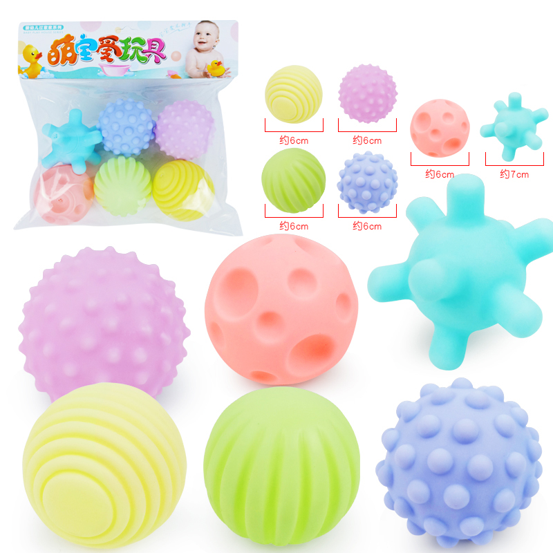 6x Baby Rubber Ball Toys Develop Tactile Senses Textured Touch Hand Toy Massage Training Balls Soft Rattle Activity Learning Toy