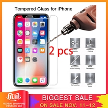 2 pcs! Screen Protector Film for iPhone X XR XS Max Protective Glass Hard Tempered Glass for iPhone 7 8 6 6S Plus 5 5S SE 4 4S