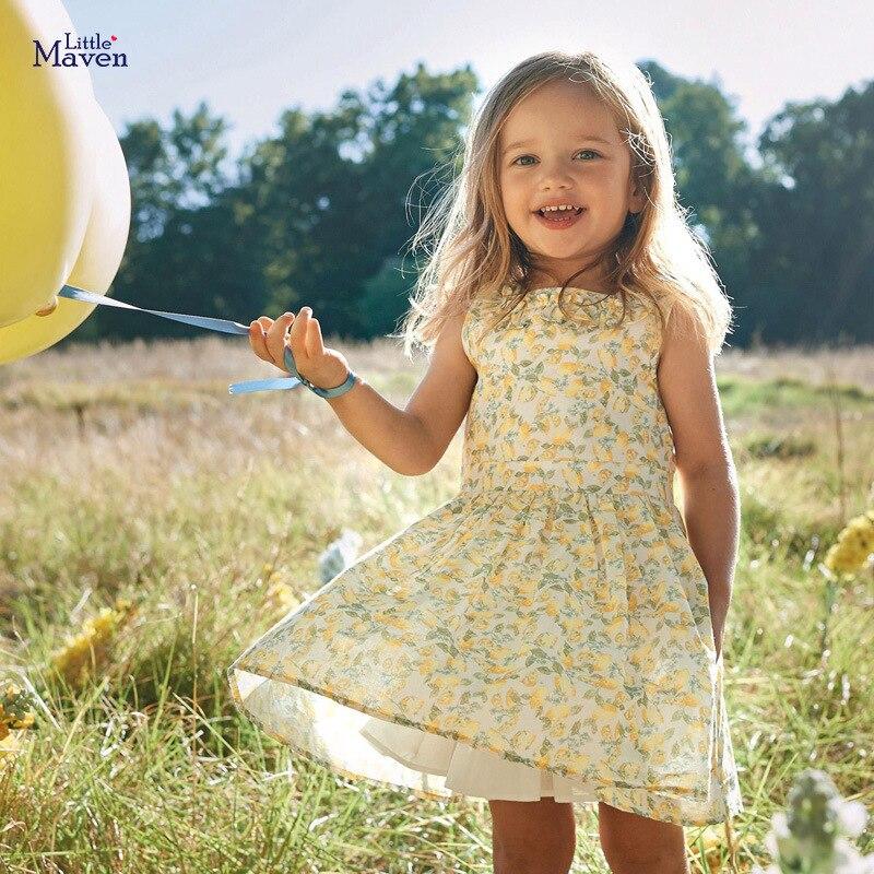 Little Maven Dress 2020 Girls Yellow Dress Toddlers Princess Summer Short Sleeve Dresses Children Vestidos Kids Unicorn Clothes