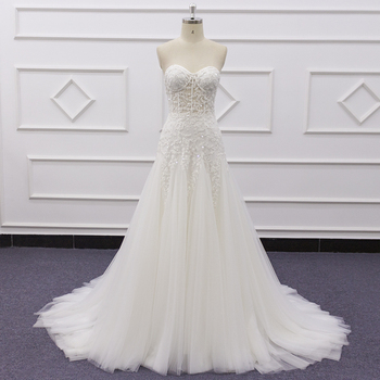 19002 custom made ivory sweetheart sleeveless Strapless shoulder Simple wedding dress a-line