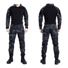 Тактическая Военная Униформа Bdu одежда армейская тактическая рубашка куртка брюки с наколенниками камуфляжная охотничья одежда Kryptek черная