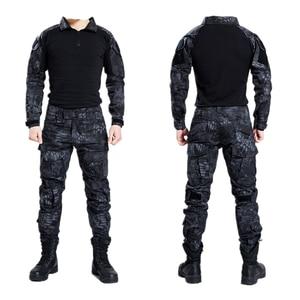 Taktyczne wojskowe Bdu jednolite ubrania armia taktyczne koszula kurtka spodnie z ochraniacze na kolana kamuflażowa odzież myśliwska Kryptek czarny