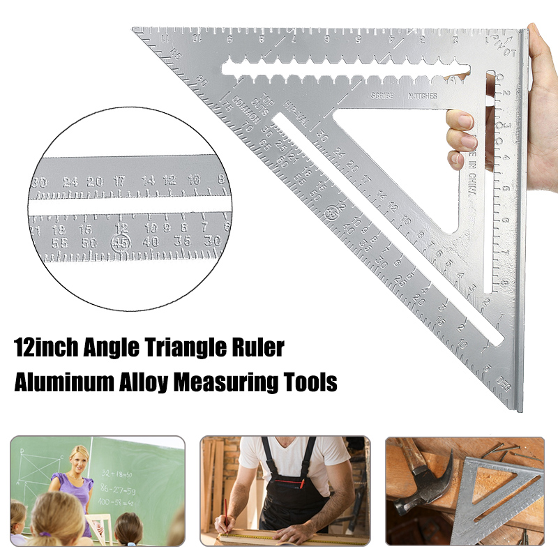 12inch Aluminum Alloy Right Angle Triangle Ruler Protractor Framing Woodworking Speed Square Angle Protractor Measuring Tools