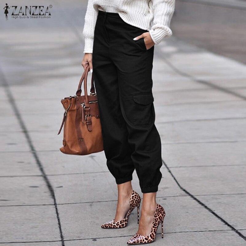ZANZEA Plus Size Women Casual Long Pants 2020 New Fashion Ladies Loose Pockets Trousers Solid Cotton Pantalon Femme Streetwear