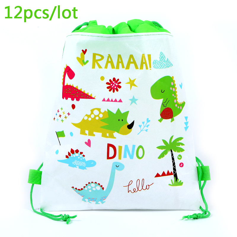 12pcs Dinosaur Theme Boys Favors Mochila Birthday Party Non-woven Fabrics Drawstring Gifts Bags Baby Shower Decoration Backpack