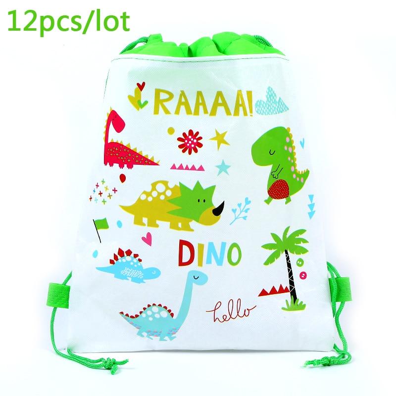 12pcs Dinosaur Theme Boys Favors Mochila Birthday Party Non-woven Fabrics Drawstring Gifts Bags Baby Shower Decoration Backpack