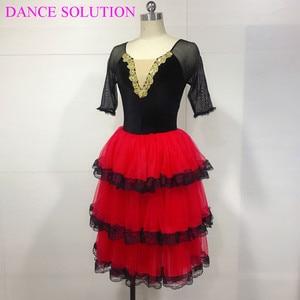 Image 3 - 3 Tiered Romantic Tutu Skirt with Lace for Girls & Women Ballerina Dance Costume Spanish Dress Mid Sleeve Long Ballet Tutu 19505