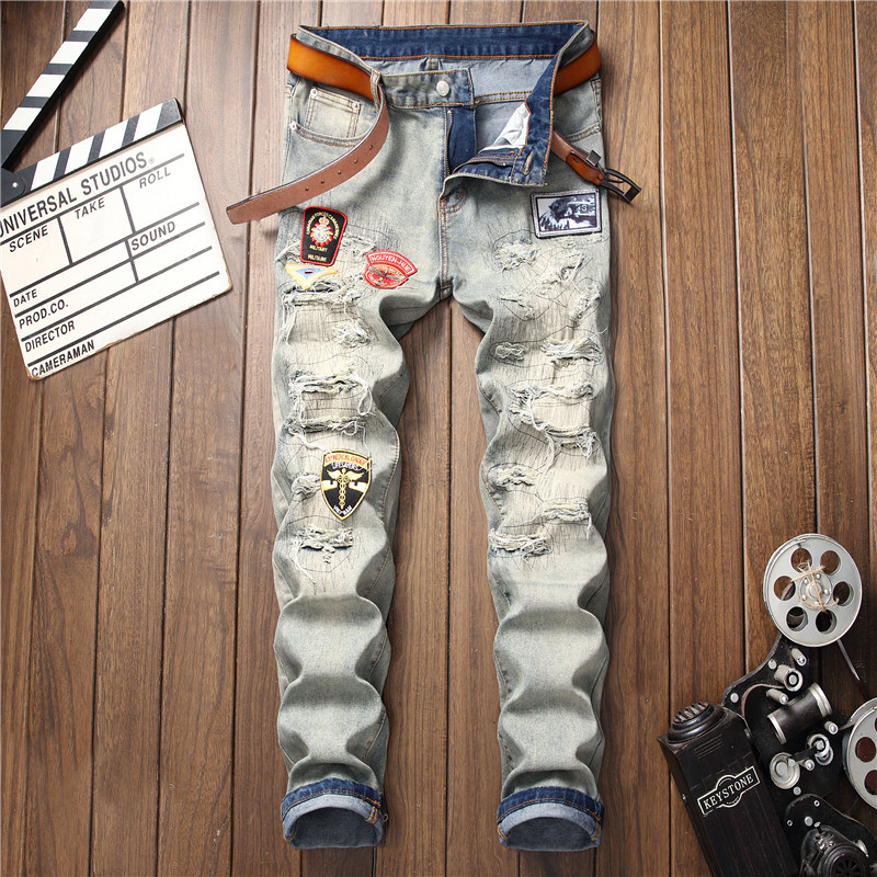 2019 New Straight Jeans Men Streetwear Destroyed Ripped Punk Hip Hop Pencil Biker Embroidery Patch Trousers