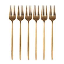 6Pcs Rose Dinner Fork Stainless Steel Dinnerware Flatware Western Fork Wedding Hotel wedding Supplies Rainbow Tableware Cutlery