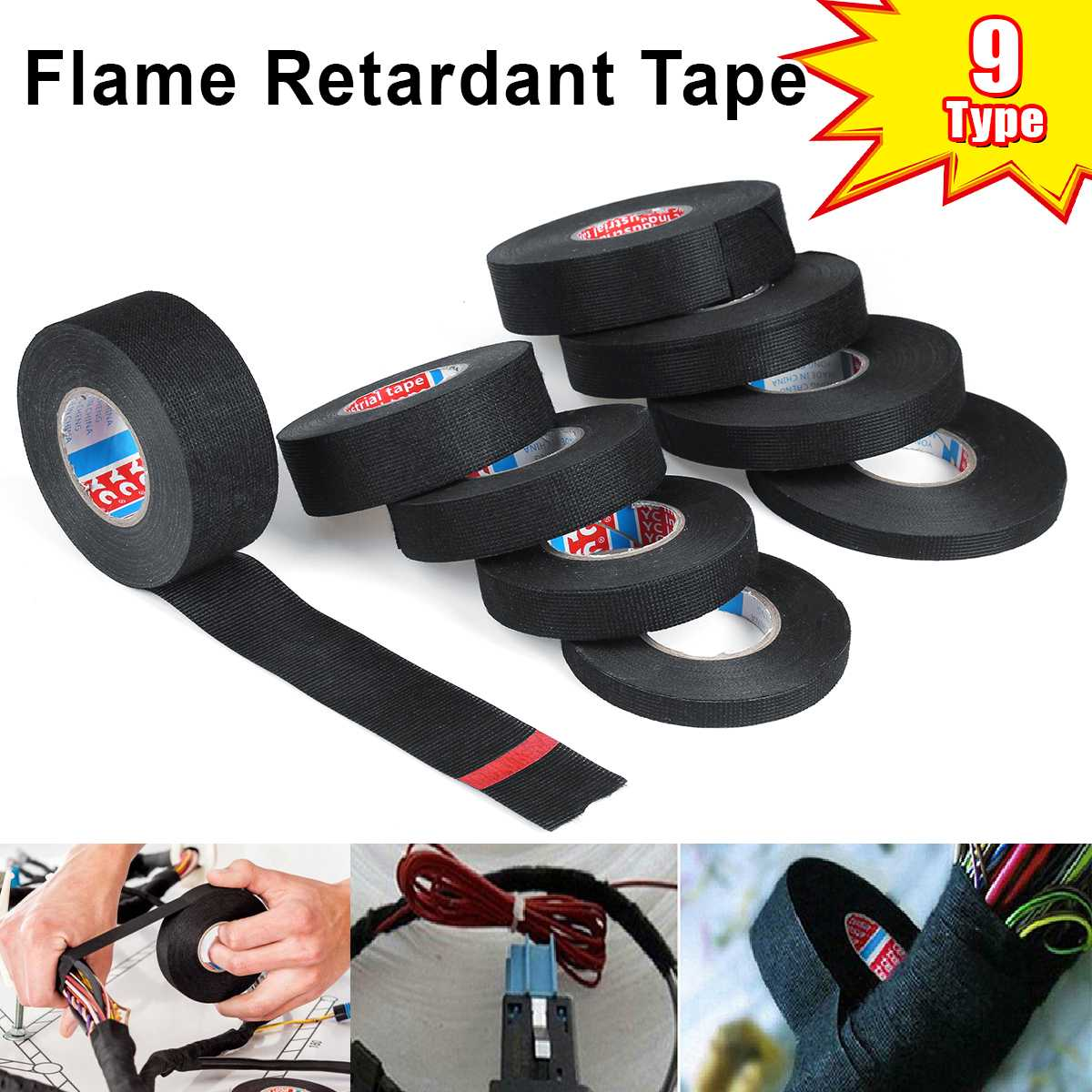 9/15/19/25/32/38mmx15/20/25m Heat resistant Wiring Harness Tape Looms Wiring Harness Cloth Fabric Tape Adhesive Cable Protection|Tape|   - AliExpress