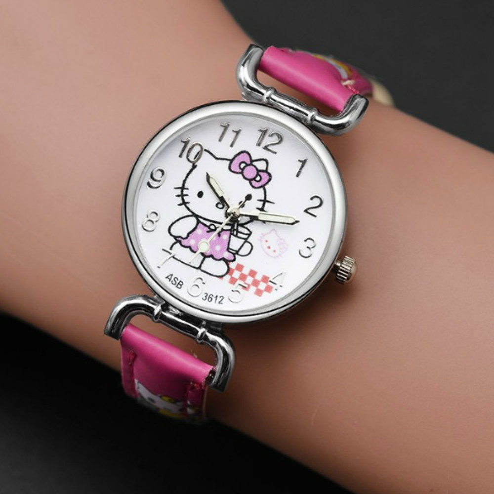 Hello Kitty CatNew Fashion Lovely Kids Watch Christmas Gift Cute Girl's Boy's Children Watch Sport Cartoon Watch