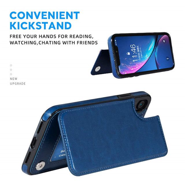 Luxury Slim Fit Premium Leather Cover For iPhone 11 12 mini Pro XR XS Max X 6 6s 7 8 Plus Wallet Card Slots Shockproof Flip Case 4