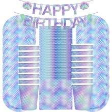 Juego de vajilla desechable para fiesta de sirena, vasos de papel, plato, servilleta, banderines para fiesta de cumpleaños, decoración para fiesta de bienvenida de bebé, 53 Uds.