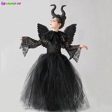 Meninas halloween bruxa mal vestido preto tutu com xale de penas crianças rainha escura vilão cosplay traje vestido maléfico