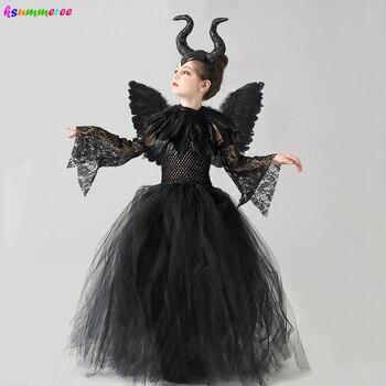 Girls Halloween Evil Witch Black Gown Tutu Dress with Feather Shawl Kids Dark Queen Villain Cosplay Costume Maleficent