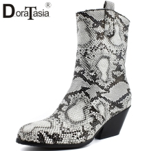 DORATASIA New Plus Size 34-48 Western Mid Calf Boots Women Snake Prints Pointed Toe Boots Ladies Chunky Heels Boots Shoes Woman цена 2017
