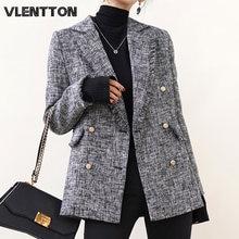 Женский твидовый Блейзер винтажный клетчатый пиджак с бахромой