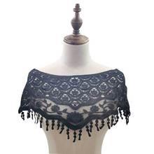 Luxury Black Cotton Embroidery Tassel Lace Fabric Shawl Appliques Dress Collar Trim Women Skirts Garment DIY Sewing Supplies