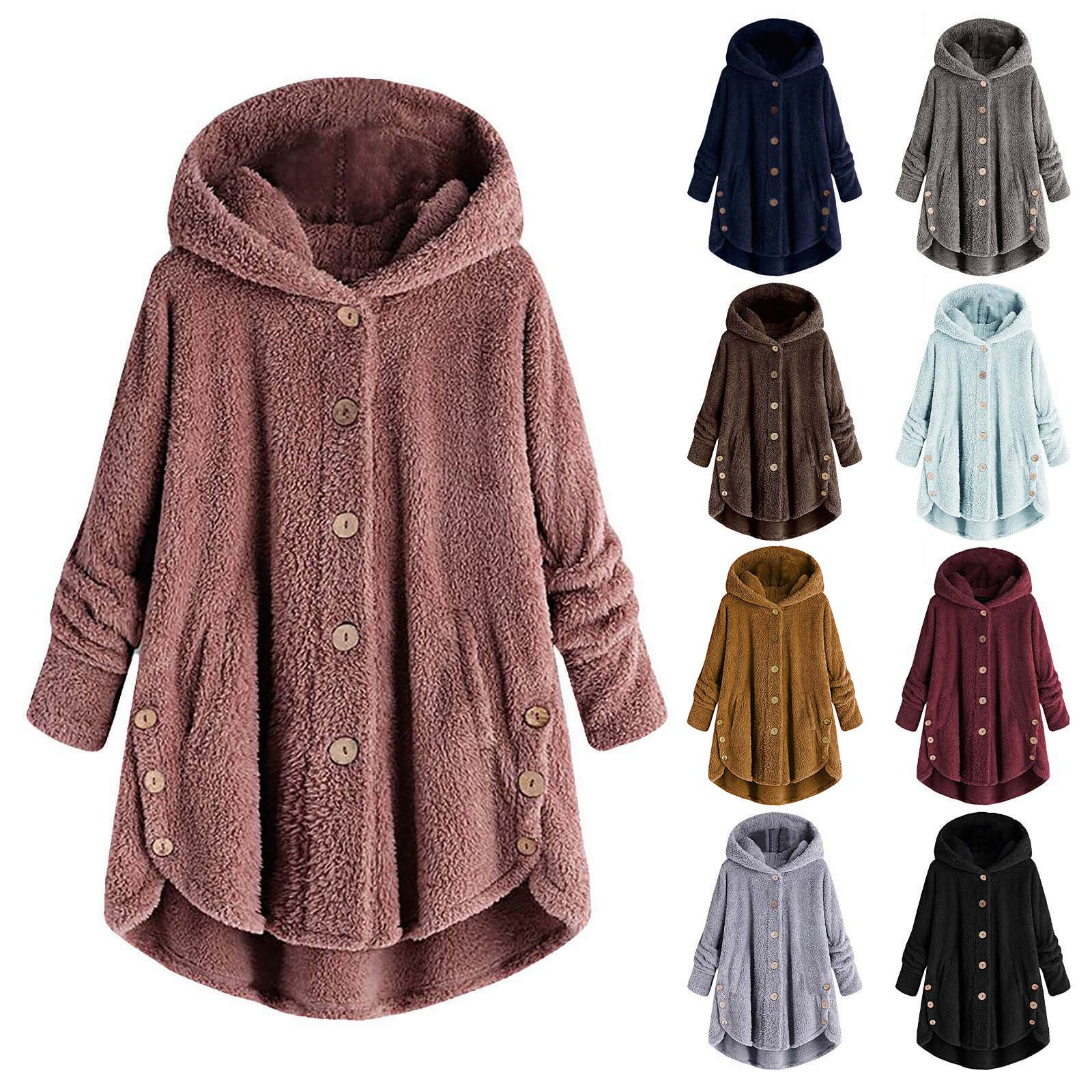 40# Plus Size Fashion Plush Sweater Casual Winter Warm Hooded Coat Ladies Female Streetwear Women Long Sleeve Blusas Jumper