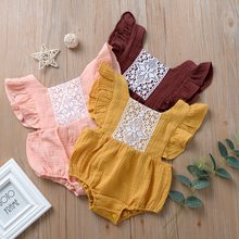 Babe Girls Fly Sleeve Lace Sweet Kids Newborn Rompers Holiday Ins New Fashion Candy Color Lovely Clothes Romper(China)