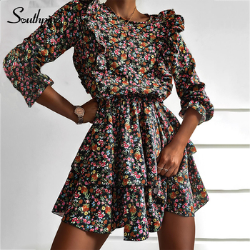 Southpire O-Neck A-Line Black Flower Print Vintage Dress Women Long Sleeve Ruffle Mini Party Dress Casual Daily Clothes Fashion 2