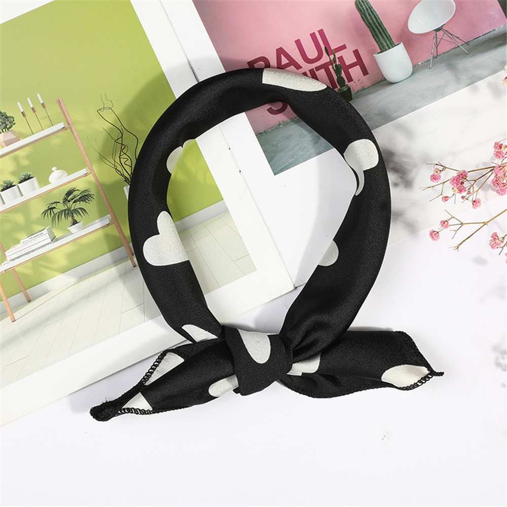 2020 Women Scarf Silk Feeling Hair Neck Scarves Square Brand Office Printing Hotel Waiter Flight Attendants Handkerchief Rings
