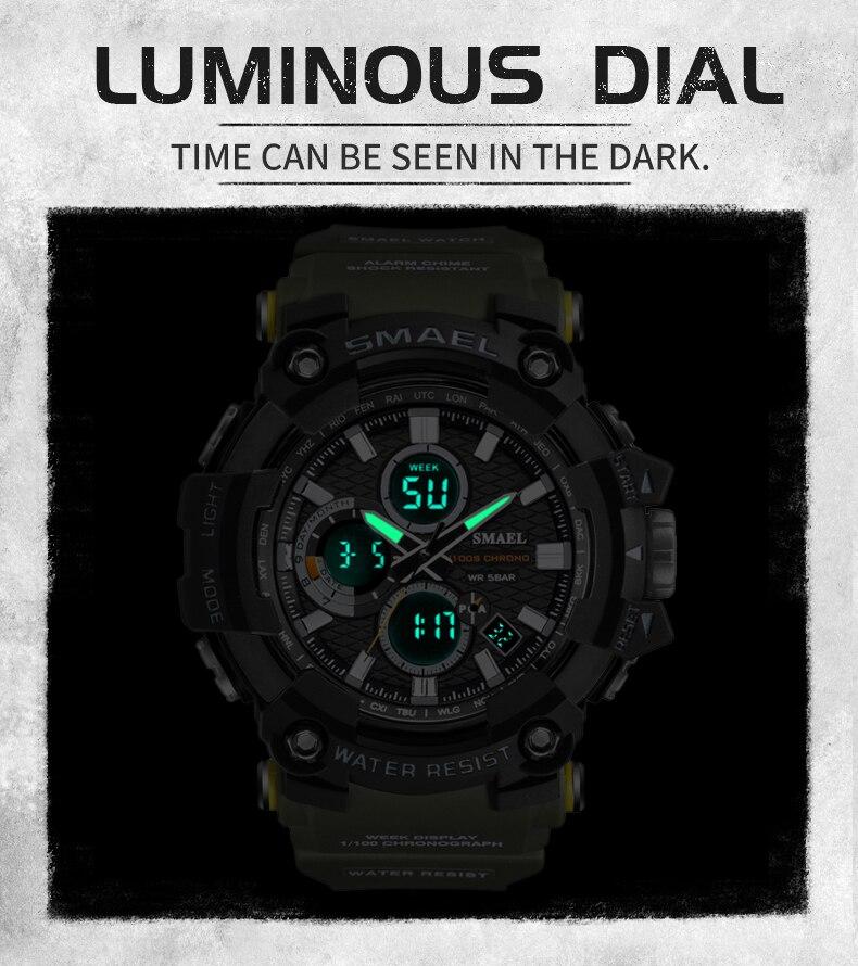 de pulso digital homem militar cronômetro relógios