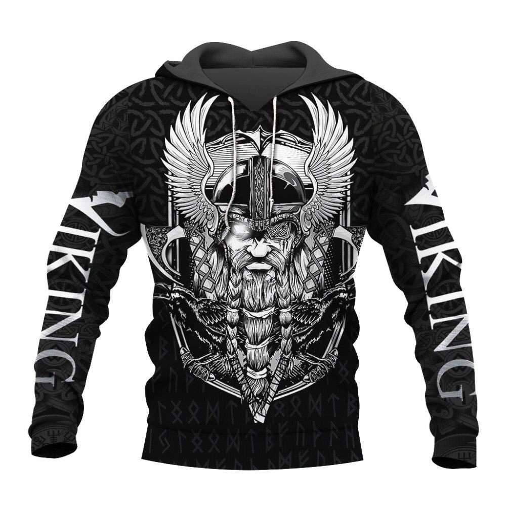 PLstar Cosmos crazy pattern warrior Viking Tattoo 3D Printed Men hoodies Harajuku Hooded Sweatshirt Autumn Fashion hoodie top-11
