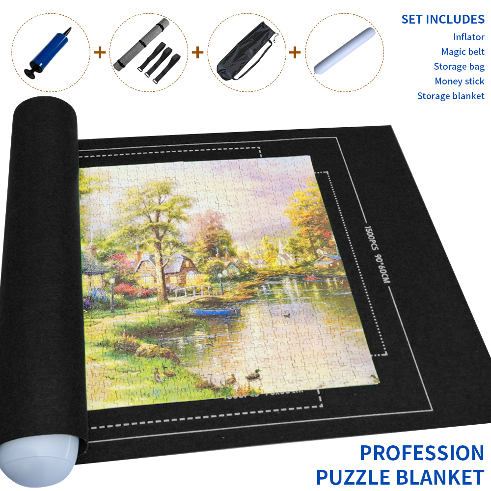 Blanket Puzzle-Accessories Felt-Mat Jigsaw-Roll 3000pcs Travel Portable for Up To Storage-Bag
