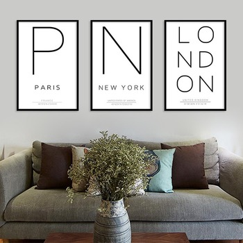 Wall Art Simple City English Letter Poster Paris New York London Latitude and Longitude Definition Pictures Cuadros Decoration image