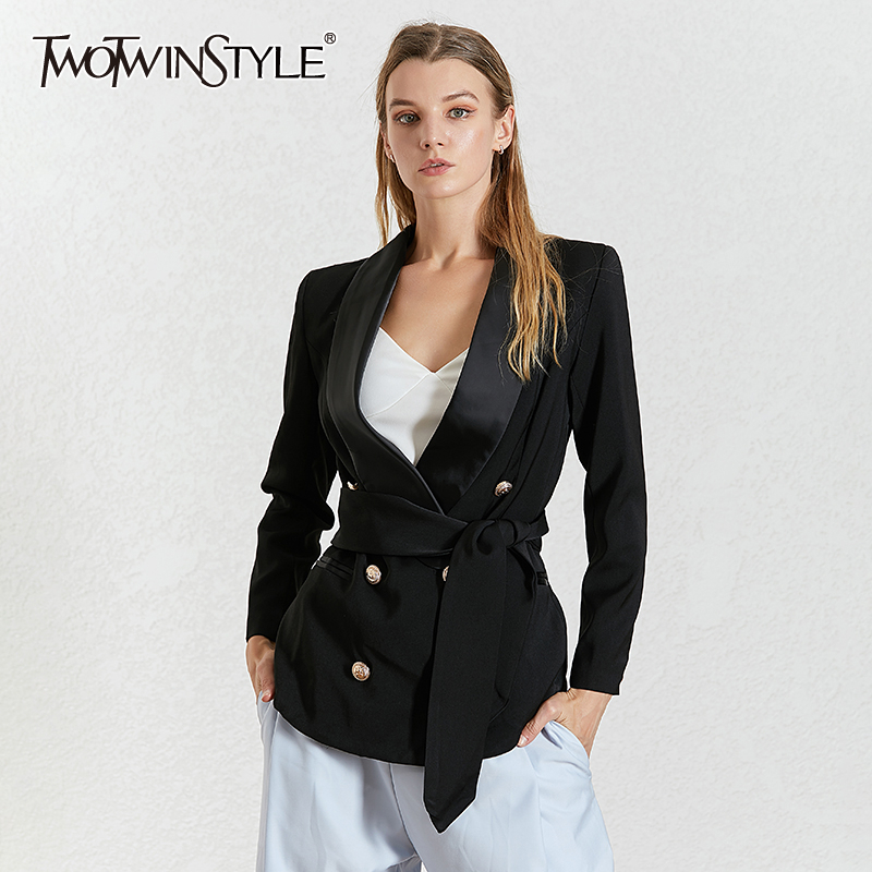 TWOTWINSTYLE Elegant Autumn Women's Blazer Notched Collar Long Sleeve Lace Up Slim Button Zipper Coats Female 2019 Fashion New