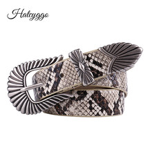 HATCYGGO Retro Belt For Women Leather Waist Belts Female Carved Pin Buckle Waistband Jeans Serpentine Strap