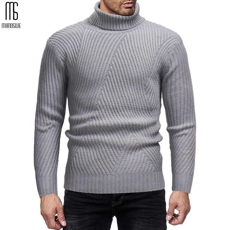 Manoswe 秋冬セーター & ジャンパープルオーバー男性 2019 タートルネック無地スリムカジュアルニットシャツ男性のボトシャツ