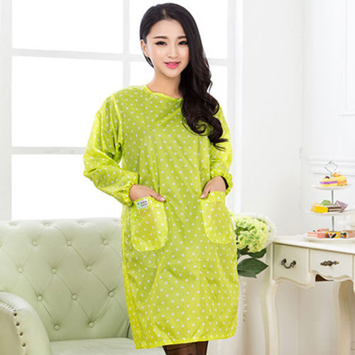 Korean-style Fashion Household Cleaning Kitchen Adult Cute Women's Overclothes Solid Color Waterproof Long Sleeve Apron Protecti