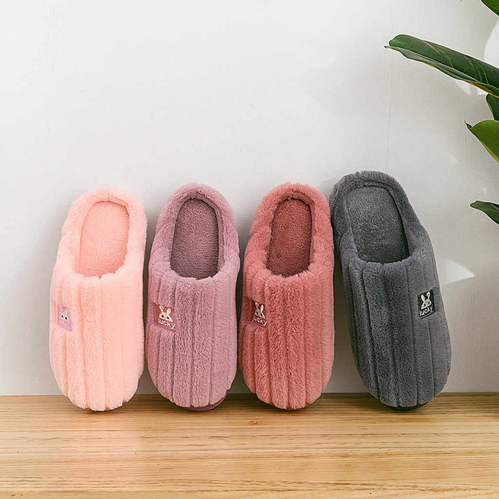 Das Mulheres dos homens Casais Coelho Sapatos Quentes Chinelos De Pelúcia De Algodão Macio Bonito Non-Slip Piso Casa Interior Chinelos de Quarto sapatos