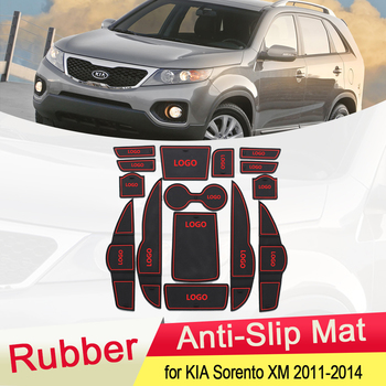 for KIA Sorento XM 2011 2012 2013 2014 Rubber Anti-slip Mat Door Groove Cup pad Gate slot Coaster Interior Car Accessories 15Pcs anti slip mat for phone gate slot mats cup rubber pads rug for toyota rav4 2019 2020 xa50 rav 4 50 car stickers accessories