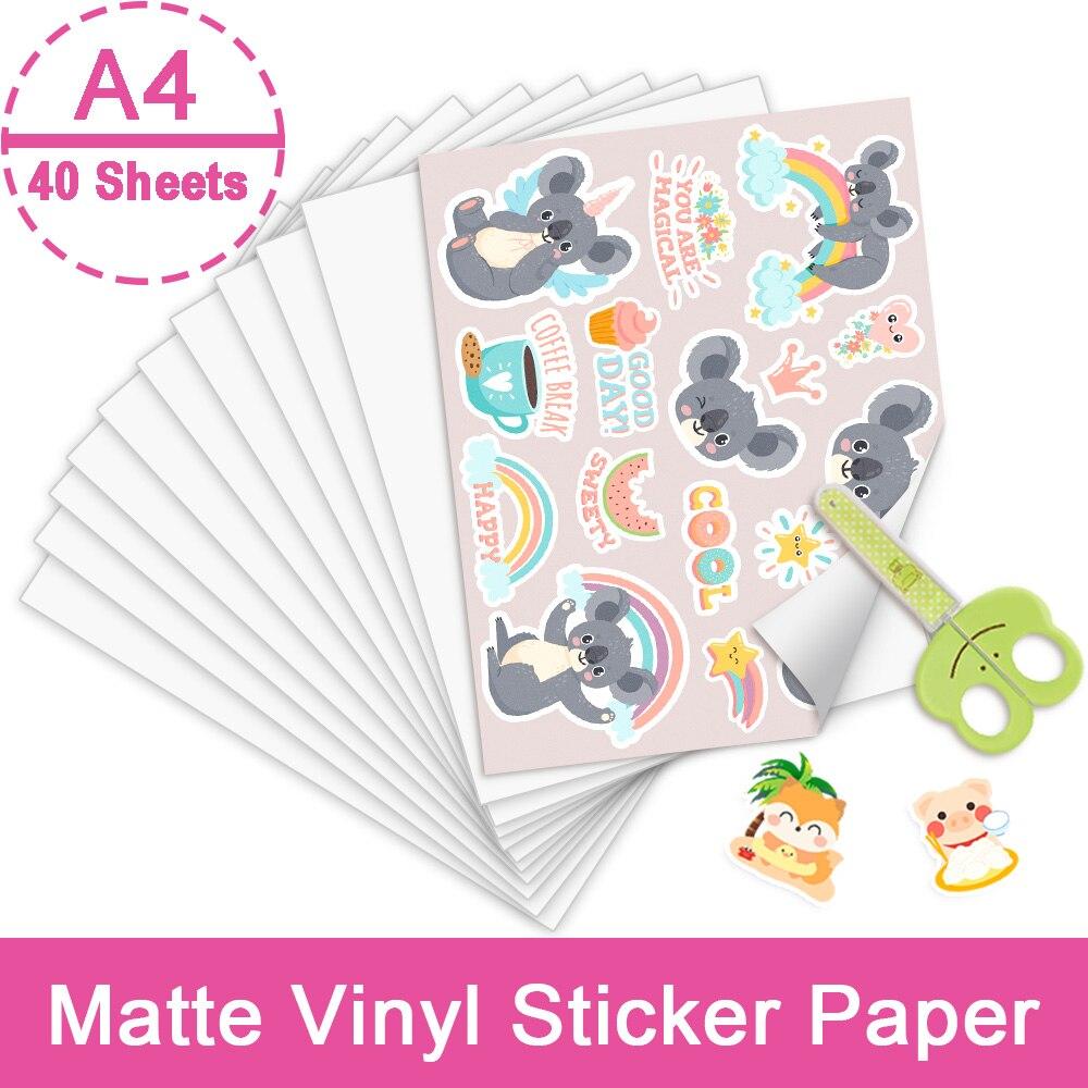 40 Sheets A4 Glossy Matte Paper Self-adhesive Copy Paper Printable Vinyl Sticker Paper InkJet Printing Paper for Inkjet Printer