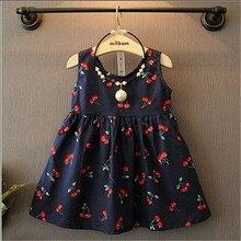 Vestido Fashion Girl Cherry Dress Summer A Line Waist Band Dress Girls Blue Dress For Girl Beach Dress Robe Fille vintage cherry halterneck a line dress for women
