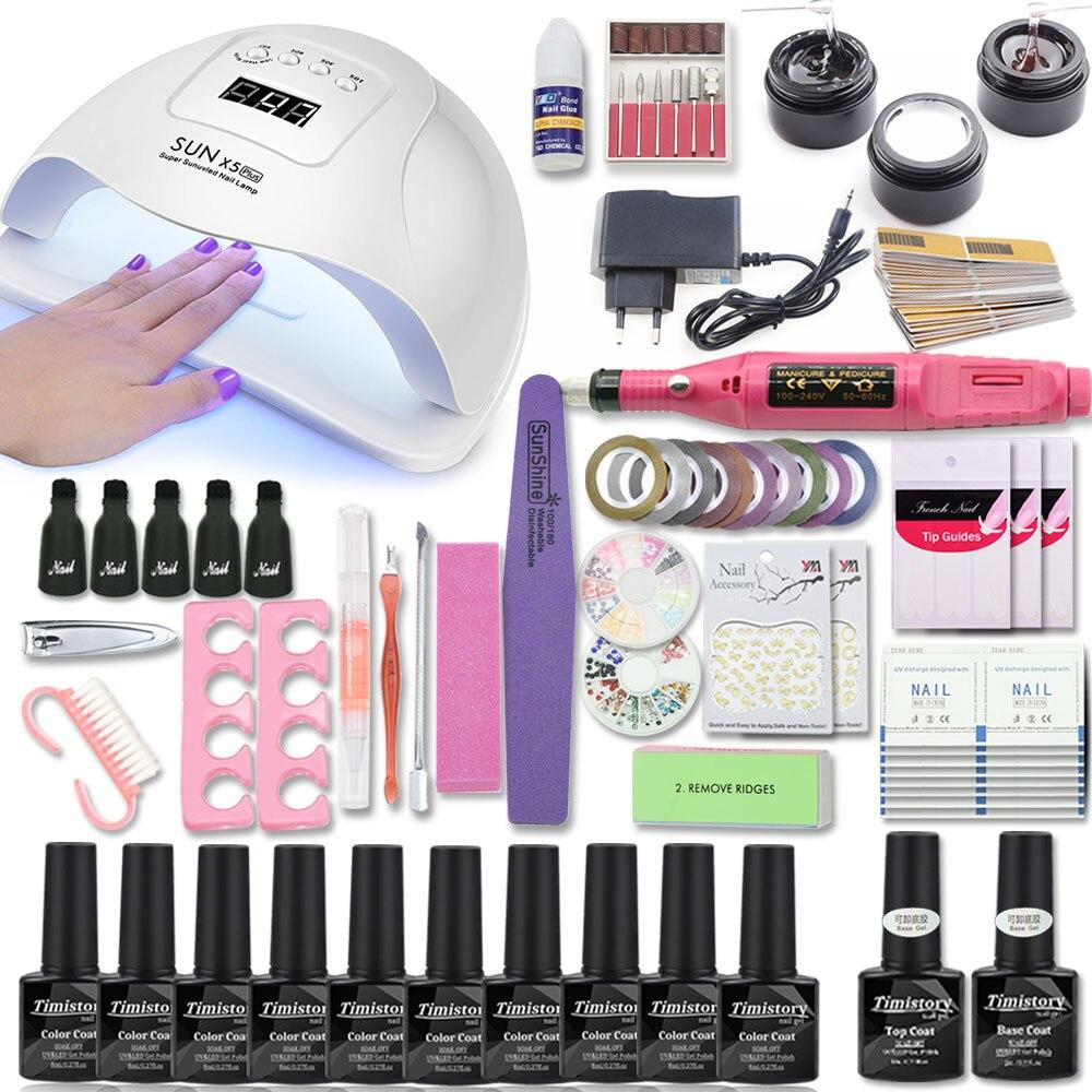 Manicure Set With Nail Lamp 80/54/36W Nail Set 10 Color UV Gel Nail Polish Kit Tools Set Nail Art Kits For Manicure Nail Files