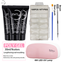 ZWTale 30 ml Poly Gel Set UV Nail Polish Art Qucik Building Nails Extentions Varnish Manicure Tips Polygel with Lamp