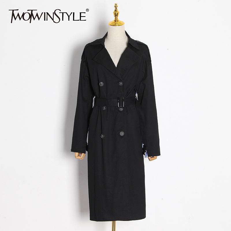 TWOTWINSTYLE Patchwork Striped Women Windbreaker Lapel Collar Long Sleeve High Waist With Sashes Hit Color Jacket Female Fashion