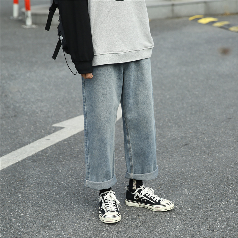 Autumn New Style MEN'S Jeans Trend Korean-style Capri Straight-leg Pants Young MEN'S Wide Leg Casual Long Pants