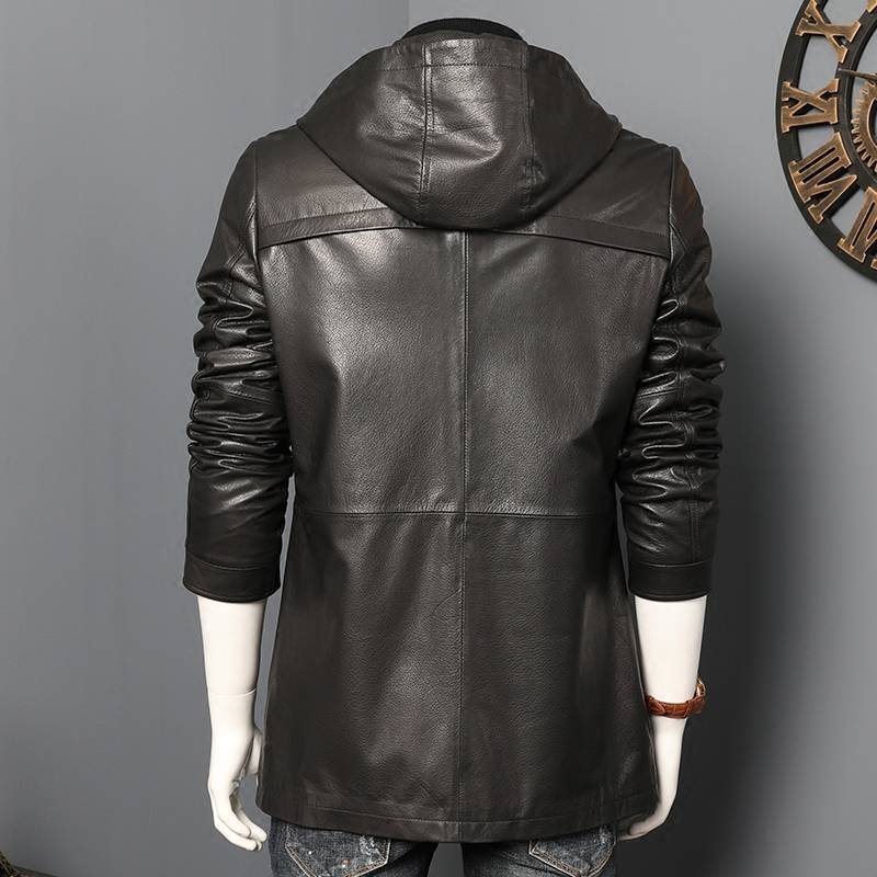 Mens Genuine Leather Jacket Spring Autumn 100% Real Goatskin Leather Coat Hooded Chaqueta Cuero Hombre 2020 7028 KJ4033