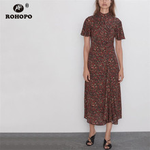 ROHOPO Red Daisy Elegant Black Midi Dress Turtle neck Peplum Draped Butterfly Sleeve Retro Party Maxi Vestido #2227 wi fi адаптер tp link tl wn822n белый
