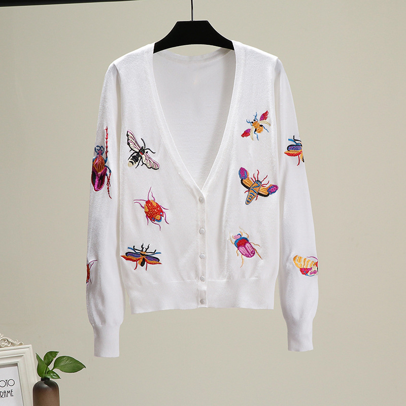 Autumn V-neck Long Sleeve Insect Cardigans Women Knitted Jacket Embroidered Sweater Women Tops Casual Outerwear TA8906