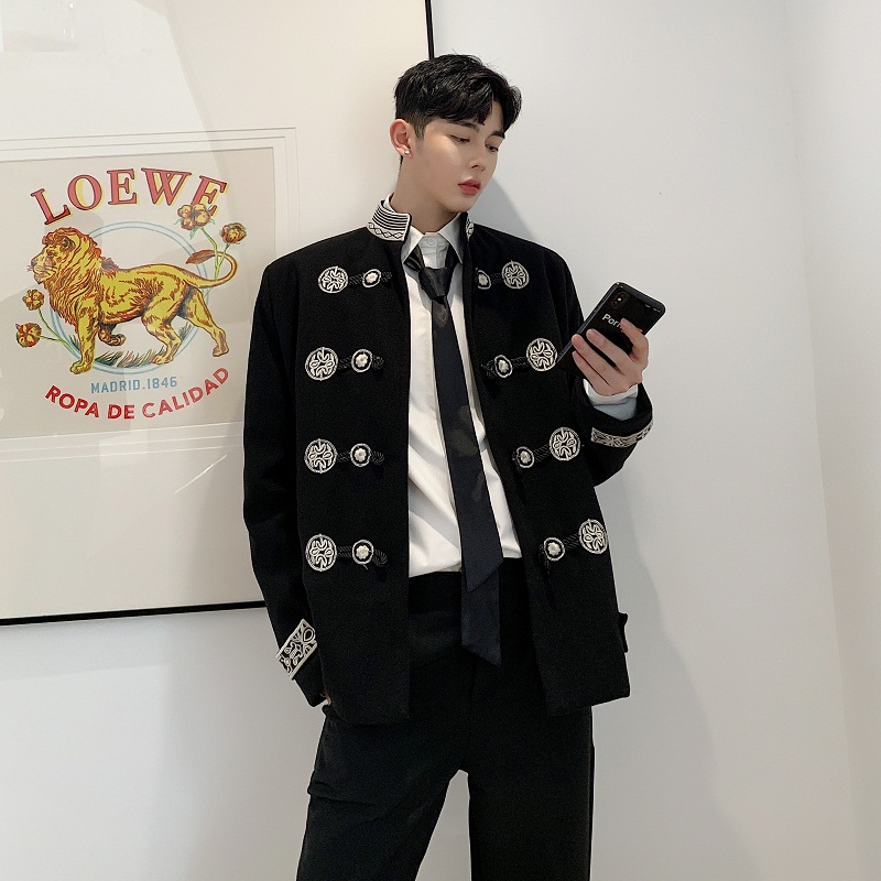 Male Streetwear Hip Hop Gothic Blazer Coat Outerwear Stage Clothes Men Vintage Embroidery Stand Collar Loose Casual Suit Jacket