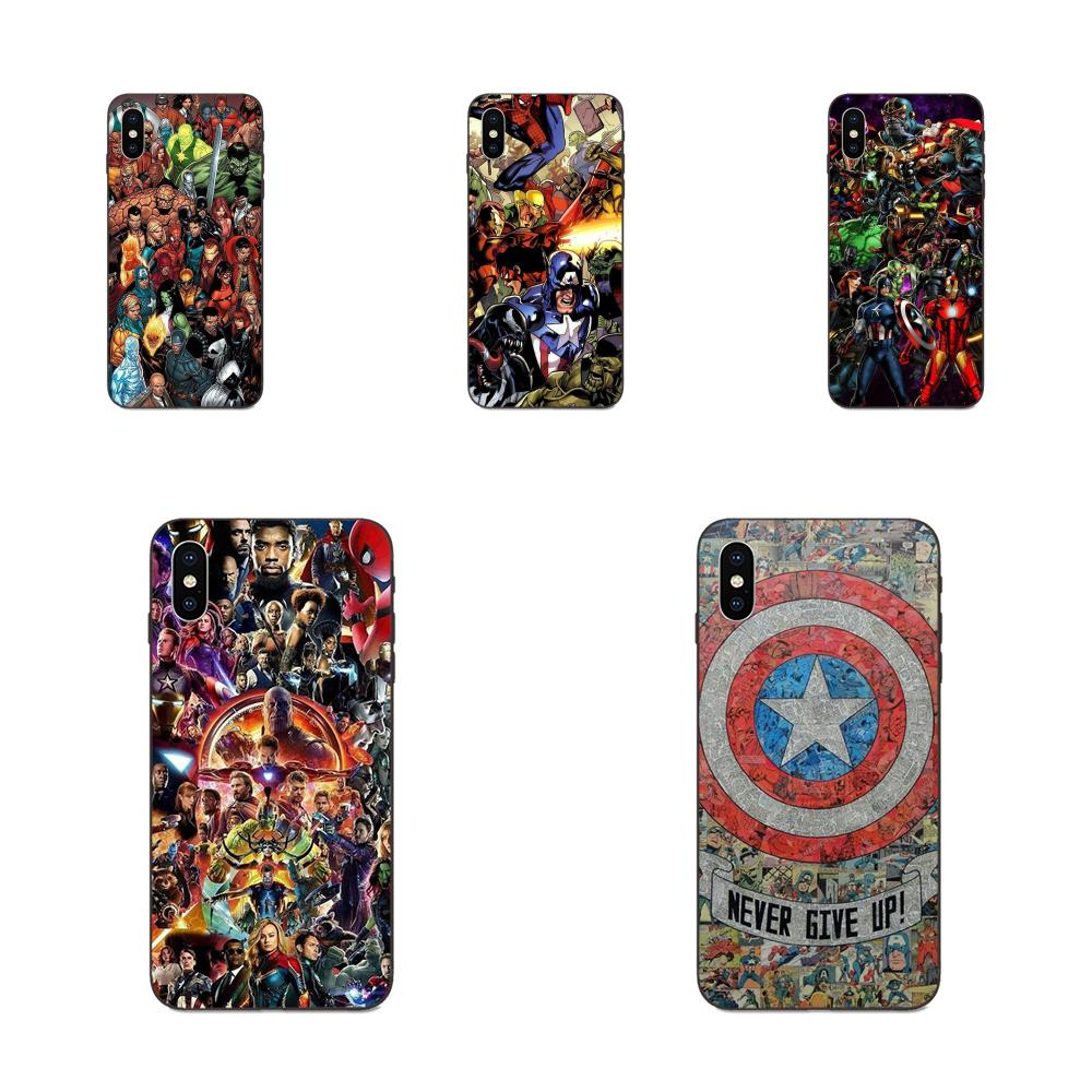 For Huawei Honor 5A 6A 6C 7A 7C 7X 8 8A 8C 8X 9 9X 10 10i 20 Lite Pro Soft Silicone TPU Black Cases Fundas Marvel Comics Collage image