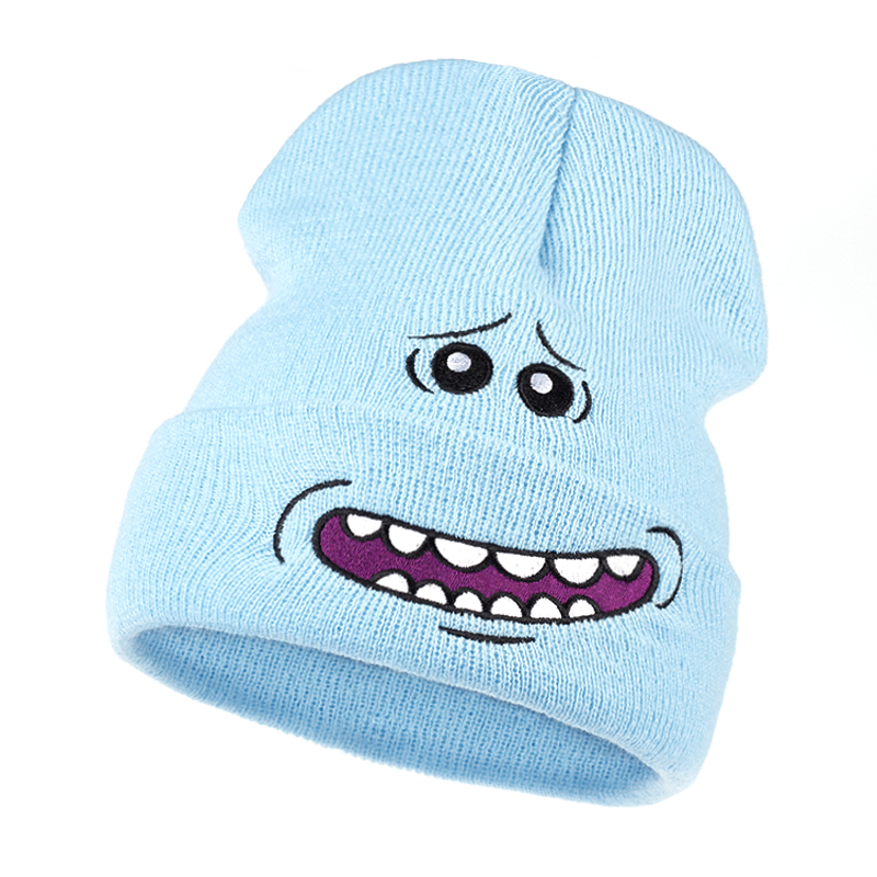 Mr. Meeseeks Knitted Hat Winter Rick And Morty Anime Caps Warm Light Blue Lovely Beanie Outdoor Sport Skiing Knit Hats Skullies