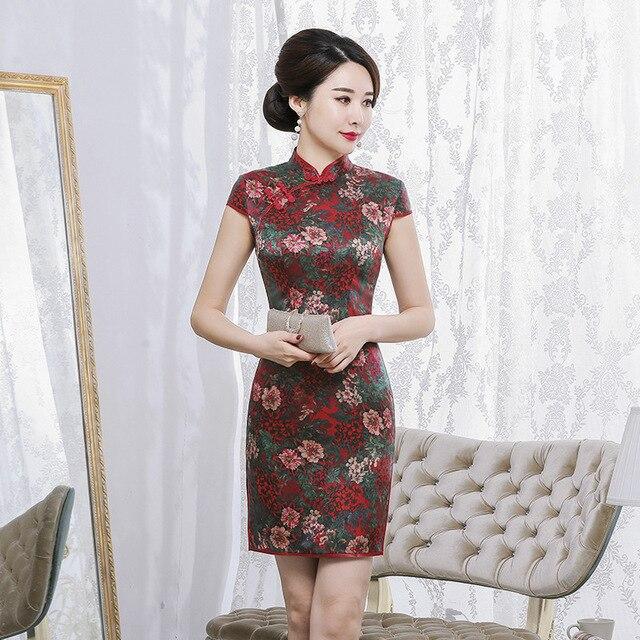 الحرير شيونغسام الوقوف طوق قصيرة الأكمام قصيرة نمط الرجعية ضئيلة التوت الحرير اليومية مبيعات المصنع مباشرة عالية الجودة