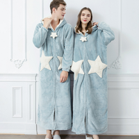 2020 New Men Thick Velvet Robe Long Loose Pajama Star Pattern Nightdgown Coral Padded Women Autumn Winter Cloth Bathrobe пижама